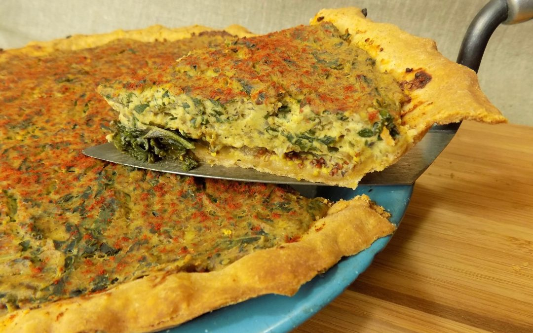 Vegan Quiche with Mushrooms, and Greens