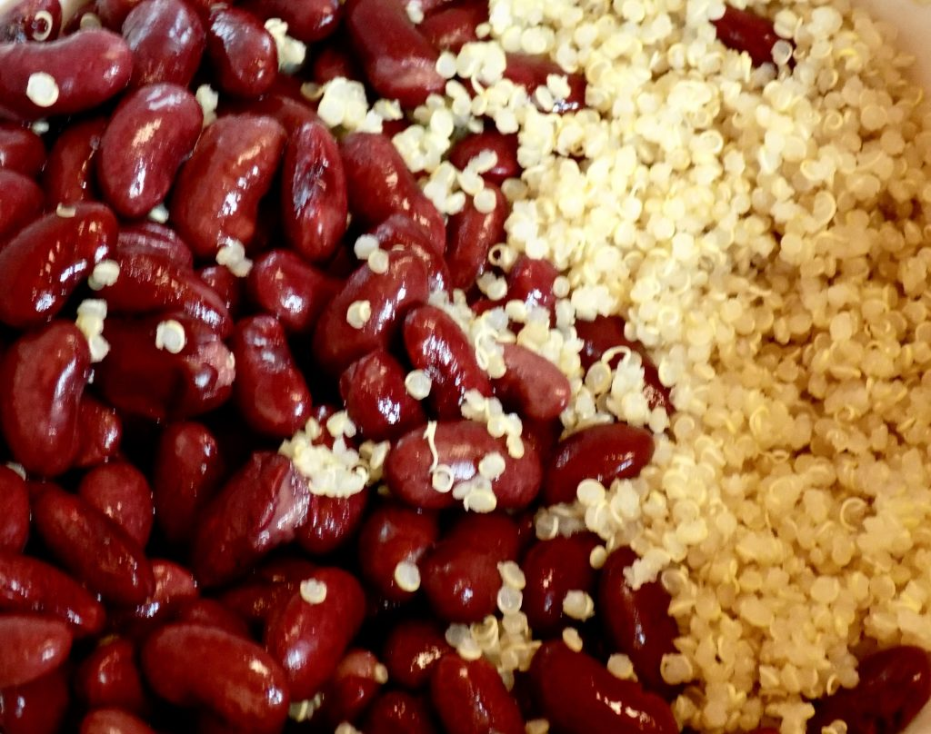 Beans and quinoa make for a high-protein plant-based meal