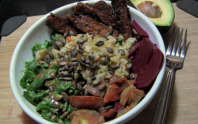 Kale Salad Recipe with Pickled Beets, Maple-Mustard Dessing, BBQ Tempeh Strips, and Baked Potato Fries|Vegan|Healthy