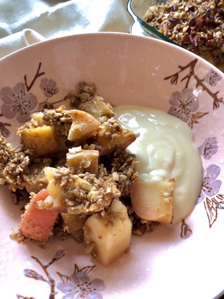 Apple Pecan Crisp with plant-based yogurt