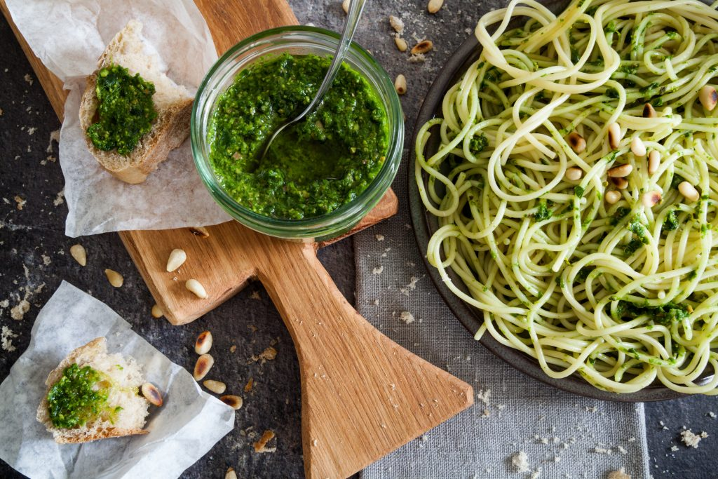 Pesto is perfect on pasta