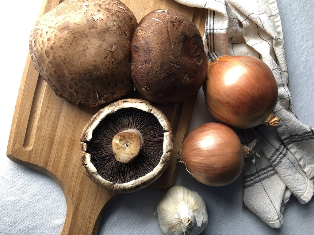 Ingredients for a Portabella French Dip