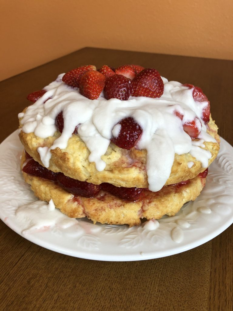 Vegan Strawberry Shortcake side view with coconut whipped toping