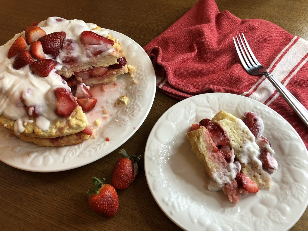 Vegan Strawberry Shortcake with slice on plate