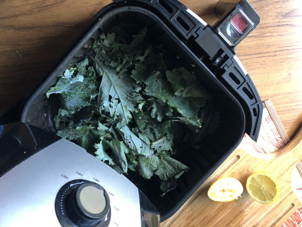 making kale chips in an air fryer
