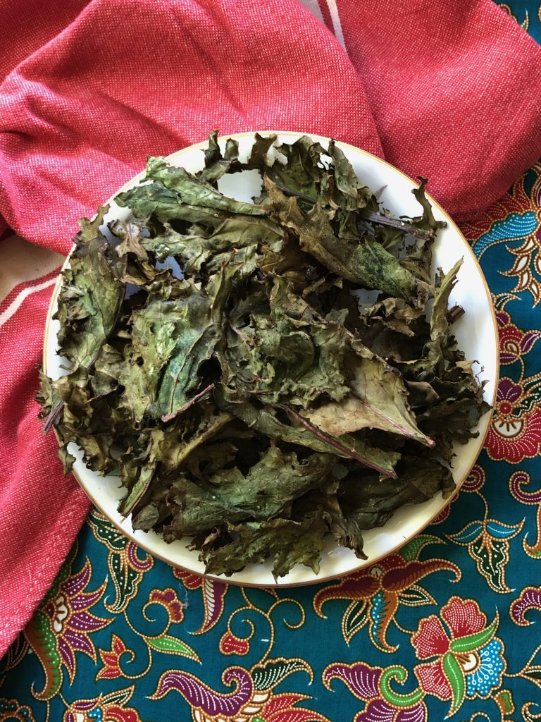 Kale chips made in an air fryer