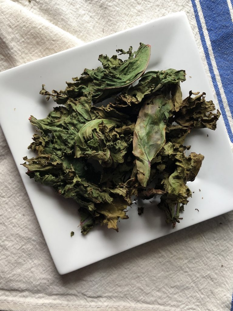 Kale chips on a plate
