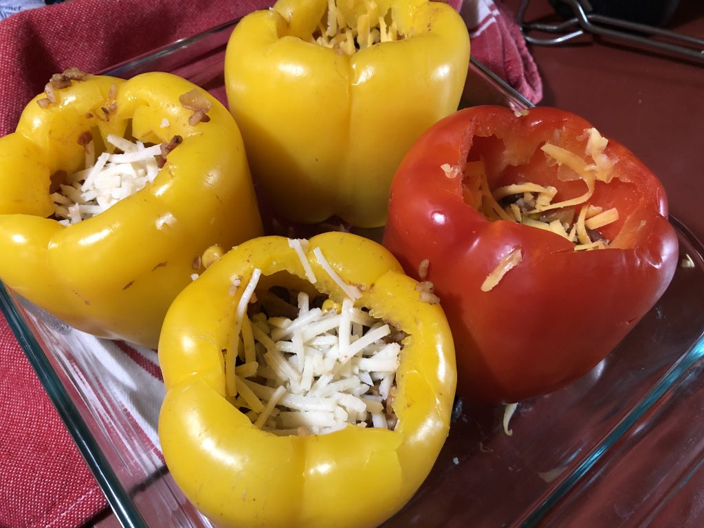 Stuffing the bell peppers