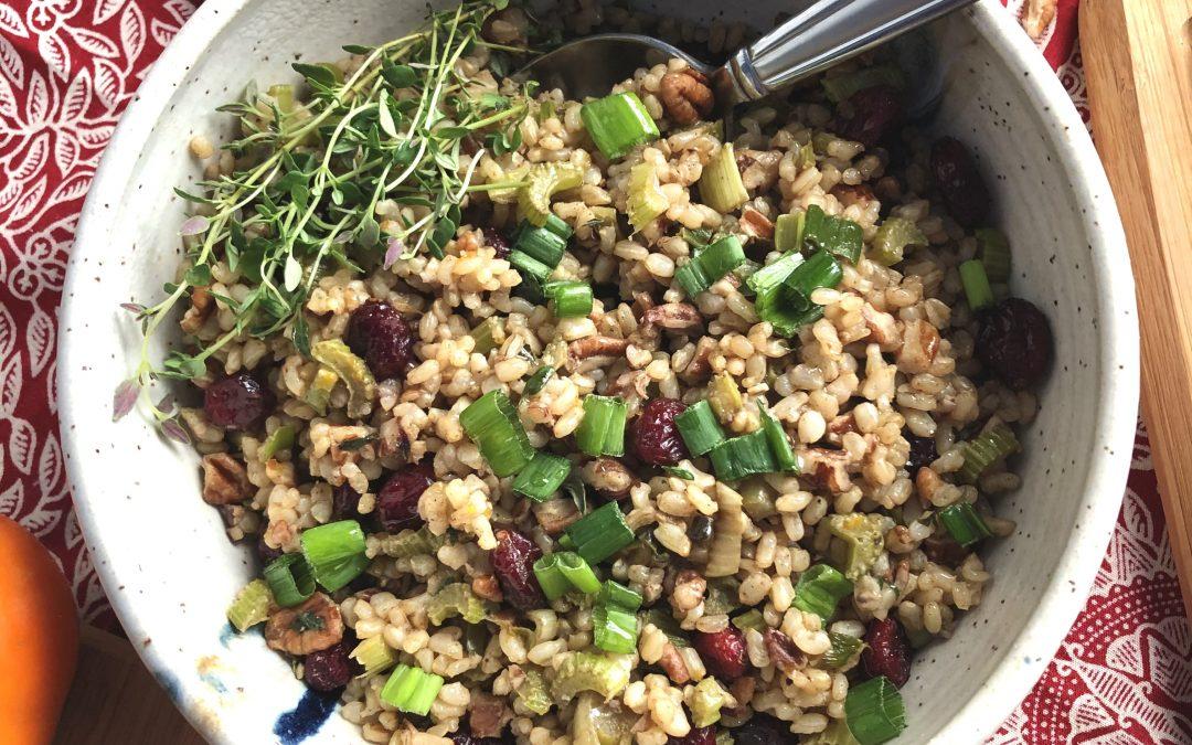Tasty Brown Rice Stuffing // Vegan and Gluten Free