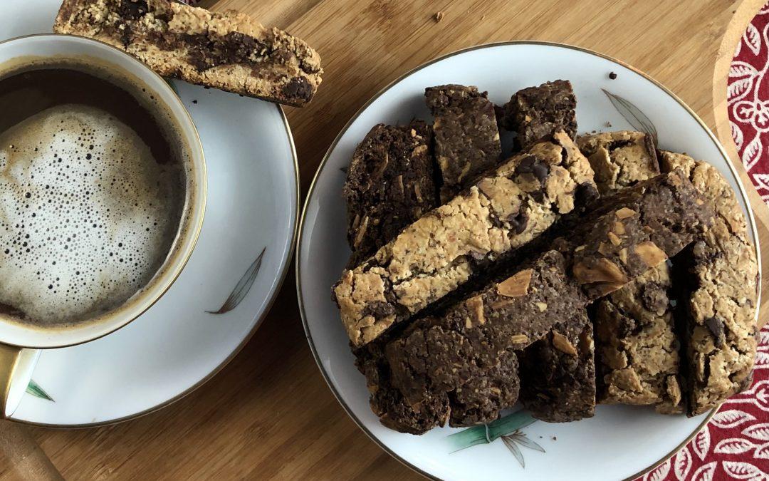 Vegan Chocolate Almond Biscotti 2 Ways with Gluten Free Option