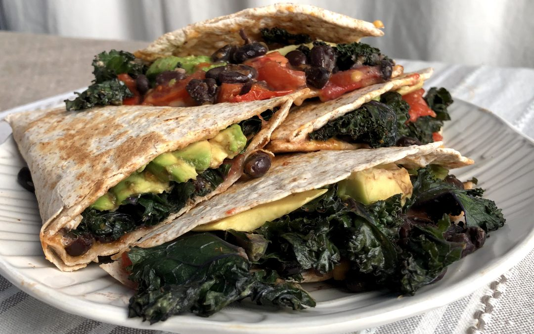 Vegan Quesadillas with Black Beans and Kale