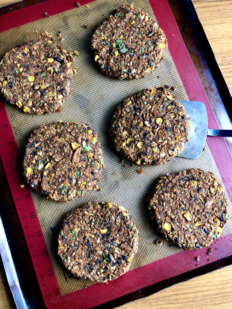 Black Bean Burgers just out of the oven