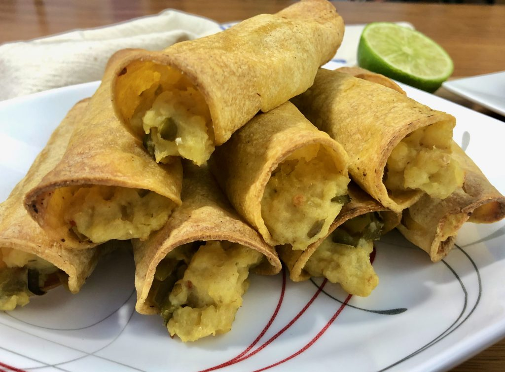 Taquitos that have been air fried til crispy