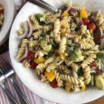 Summer pasta salad using chickpea pasta